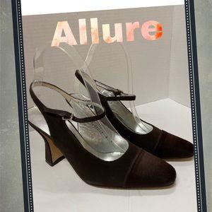 Allure Designer Brown Slingback Heels 8 8M